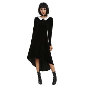 Crushed Velvet High Low Collared Dress Hot Topic
